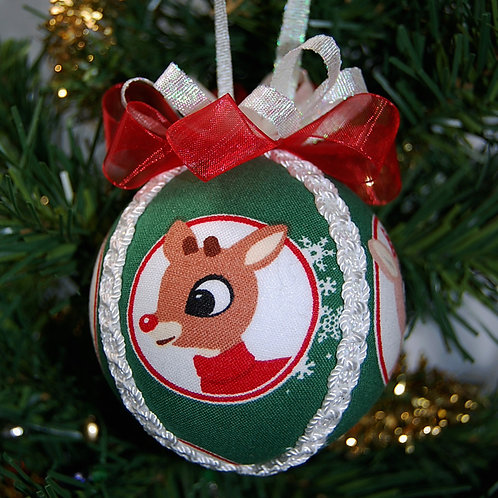 """Christmas Rudolph ornament - 3"""" (made from Licensed cotton print fabric)"""