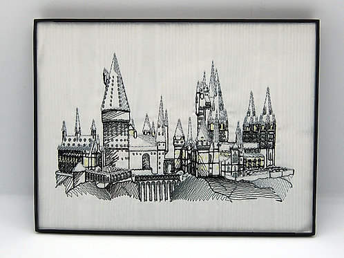 """Wizard School on white - 6 x 8"""" framed embroidered art"""