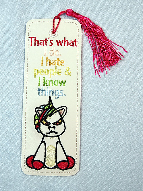 Shanky (grumpy unicorn) - Hate People and Know Things bookmark