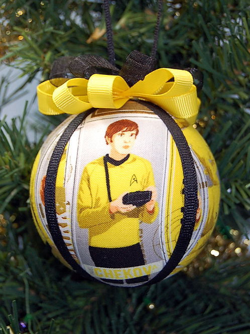 """Star Exploration Security/Tactical Officer & Helmsman - yellow 3"""" ornament"""