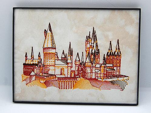 "Wizard School on beige - 6 x 8"" framed embroidered art"