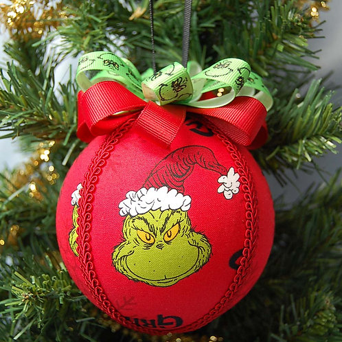 """Ornament made with licensed Grinch (red) cotton fabric/styrofoam ball - 4"""""""