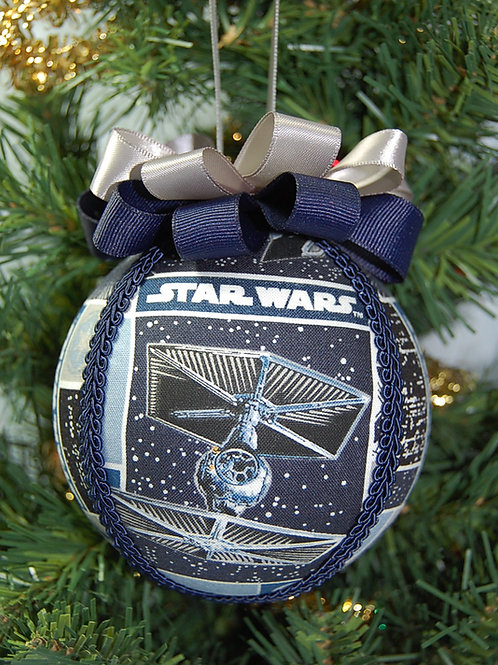 """Star Battles blue/grey ornament - 4"""" (made from Licensed cotton print fabric)"""