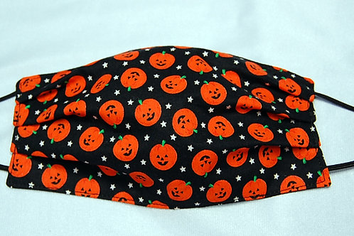 Pumpkins child face covering - 3 layers/adjustable ear loops