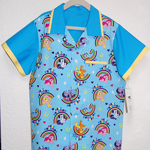Child's Shirt made with licensed My Little Pony rainbow cotton print fabric