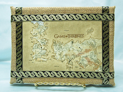 Throne Game Map Print - on framed burlap w/stand