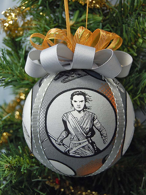 """Ornament made with licensed Star Wars/Rey cotton fabric/styrofoam ball - 4"""""""