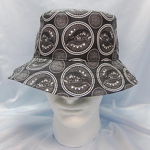 Black/white Raptor skull cotton print bucket hat