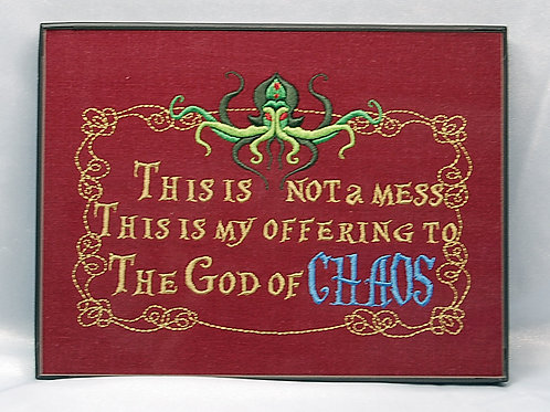 """""""This is Not A Mess"""" 6 x 8"""" framed embroidered art"""