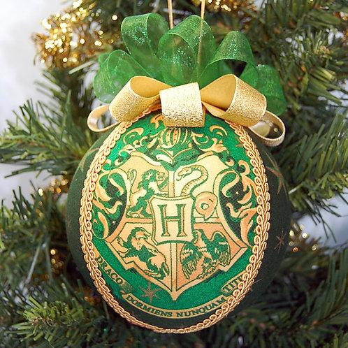 "Wizard School Crest gold/green ornament - 4"""