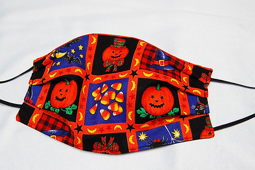 Halloween Squares child face covering - 3 layer/adjustable ear loops