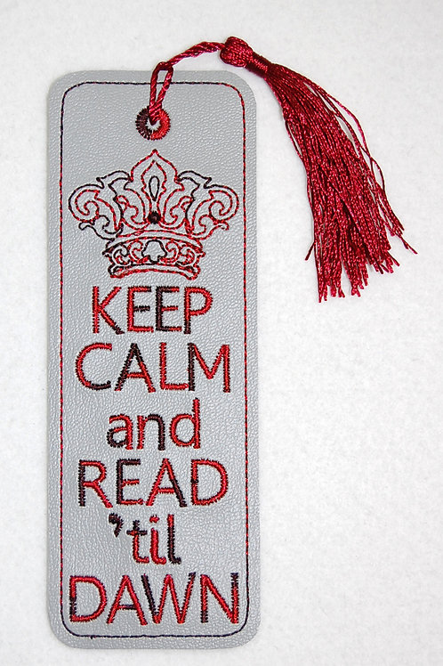 Keep Calm (grey) embroidered bookmark