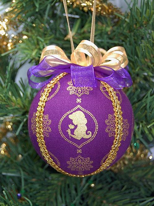 "Ornament made with licensed Jasmine/Lamp fabric/styrofoam ball - 3"""