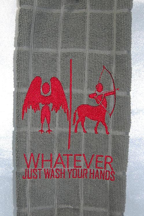 "Harpy/Centaur ""Just Wash Your Hands"" Towel - grey/red"