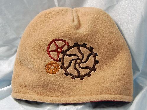 Steampunk Gears embroidered polar fleece beanie