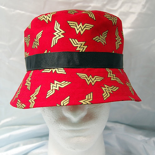 Bucket Hat made with licensed Wonder Woman (logo) red/gold cotton print fabric