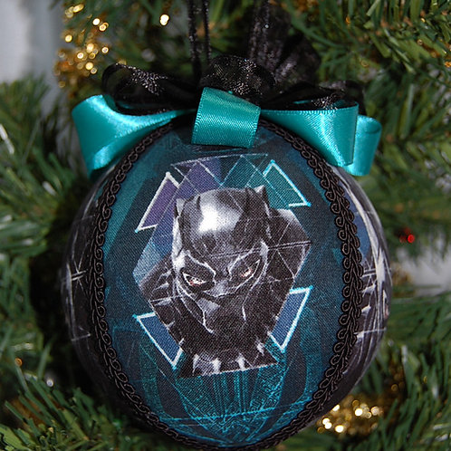 """Panther superhero ornament - 4"""" (made from Licensed cotton print fabric)"""