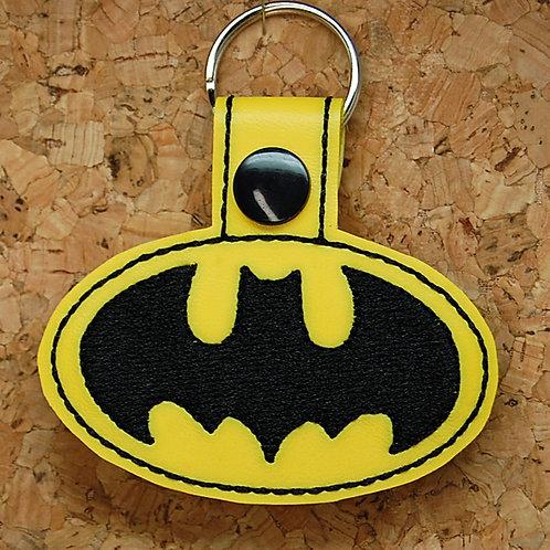 Bat Guy symbol snap tab key fob - black/yellow