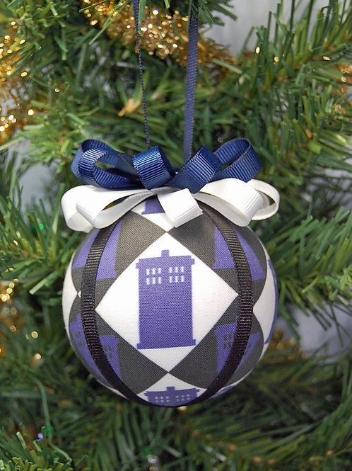 "Ornament made with Dr. Who/Tardis fabric/styrofoam ball - 3"""