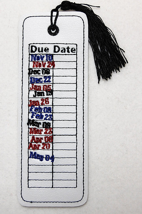 Library Due Date embroidered bookmark