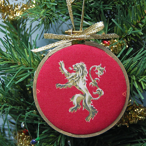 "Throne Game Lion sigil hoop ornament - 3"""