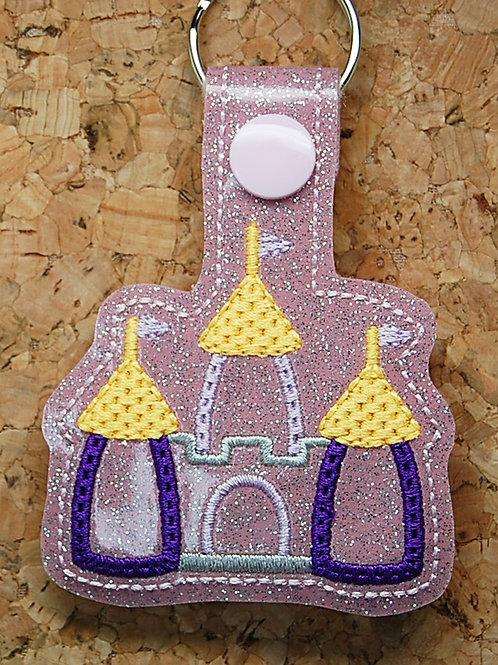 Castle (pink) snap tab key fob