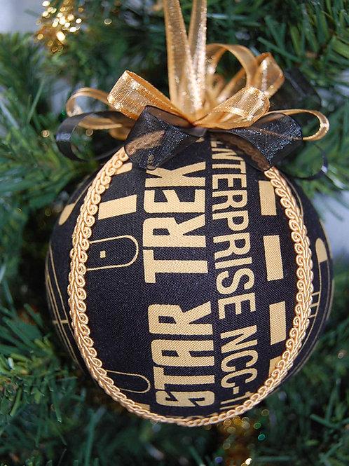 "Ornament made with licensed Star Trek blk/gold fabric/styrofoam ball-4"""