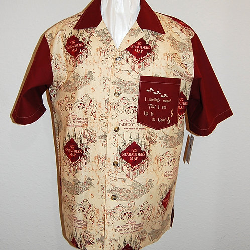 Shirt made with licensed Wizard Student Map cotton fabric-embroidered pocket