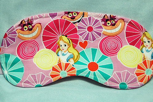 Sleep Mask made with licensed Alice in Wonderland cotton fabric