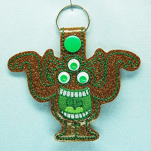 Monster googly 3-eye snap tab key fob - gold/green