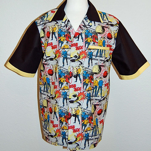 Shirt made with licensed Star Trek comic print cotton fabric