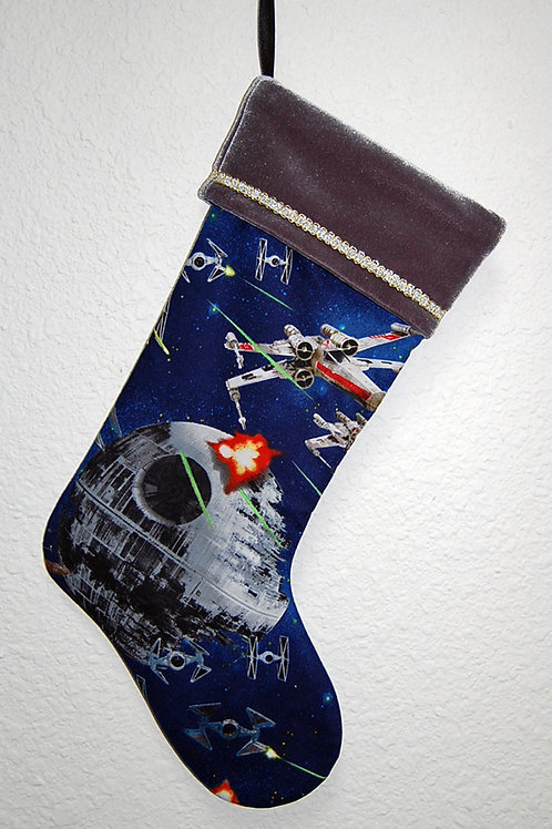 Stocking made with licensed Star Wars cotton print fabric/velvet cuff