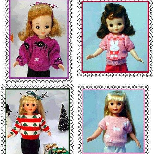 "P10218-Sock Sweater pattern for 8"" dolls (slim & chubby)"