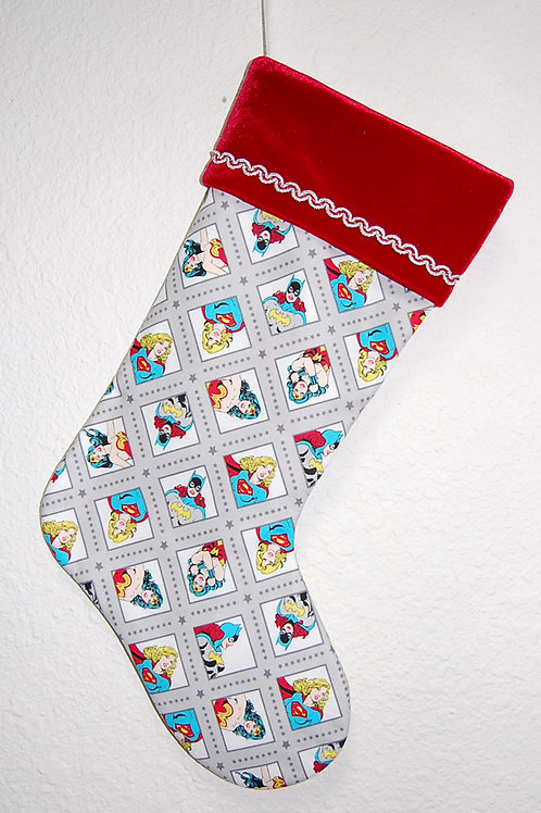Stocking made with licensed Power Girls (grey) cotton print fabric