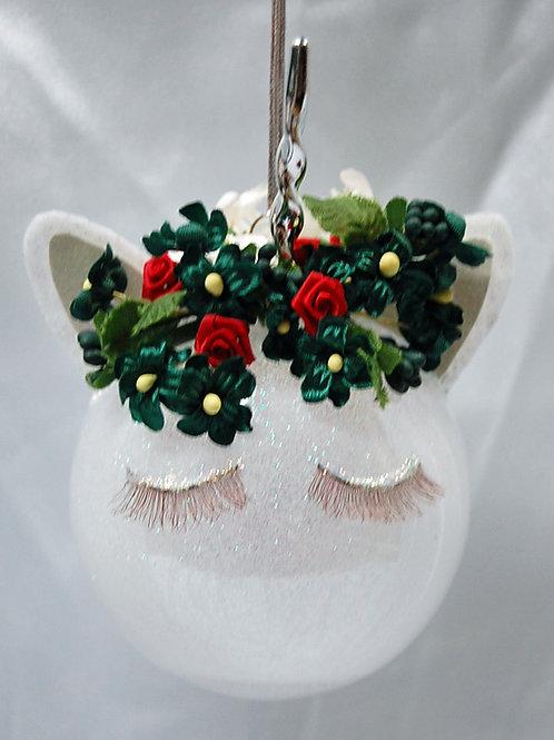 """Unicorn red/green ornament - 3"""""""