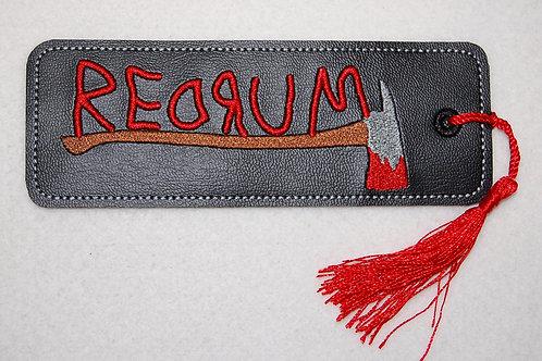 Redrum embroidered bookmark
