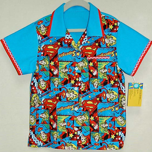 Super girl child shirt (made from Licensed cotton print fabric)