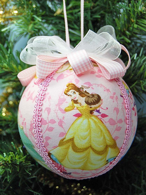 """Ornament made with licensed Princesses (pink) fabric/styrofoam ball - 4"""""""