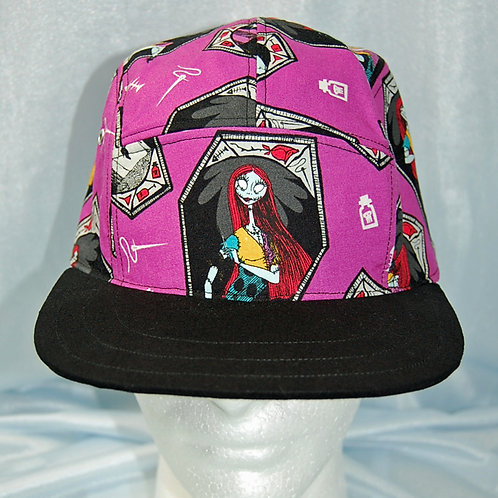 Cap made with licensed Nightmare Before Christmas/Sally cotton print fabric
