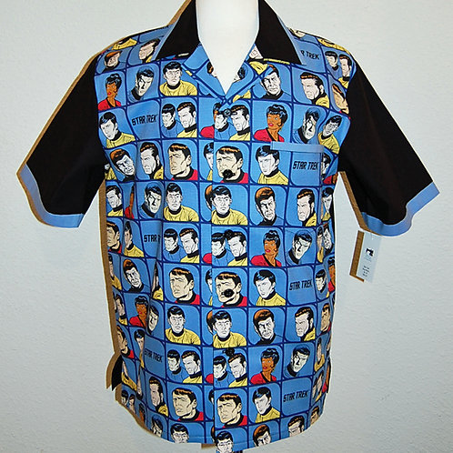 Star Explorer blue blocks bowling shirt (made from Licensed cotton print fabric)