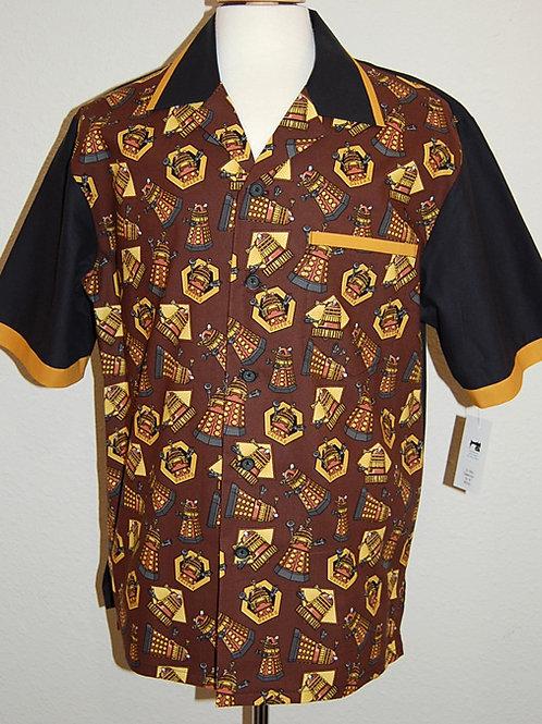Shirt made with licensed Dr. Who/Daleks cotton print fabric