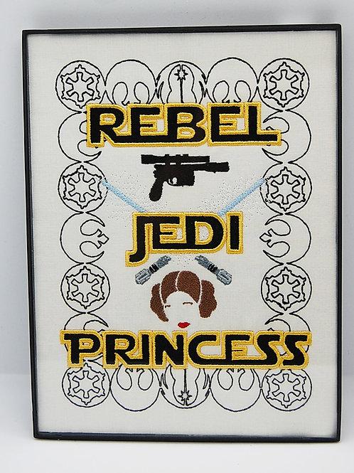 """""""Rebel.......Princess"""" Star Battles - 6 x 8"""" framed embroidered art"""
