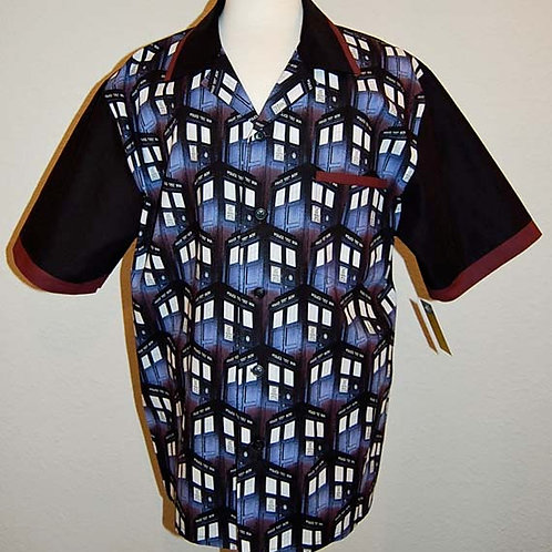 Who Blue Box bowling shirt (made from Licensed cotton fabric)