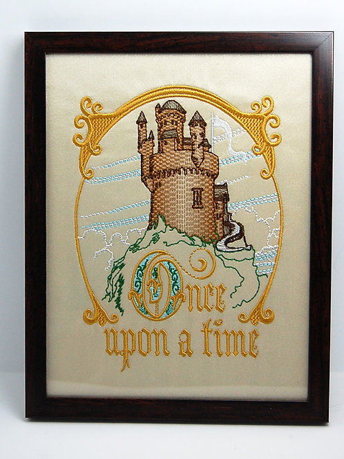 """""""Once Upon A Time"""" castle - 7 x 9"""" framed embroidered art"""