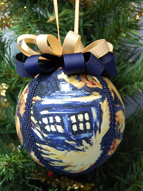 """Ornament made with licensed Dr. Who Exploding Tardis fabric - 4"""""""