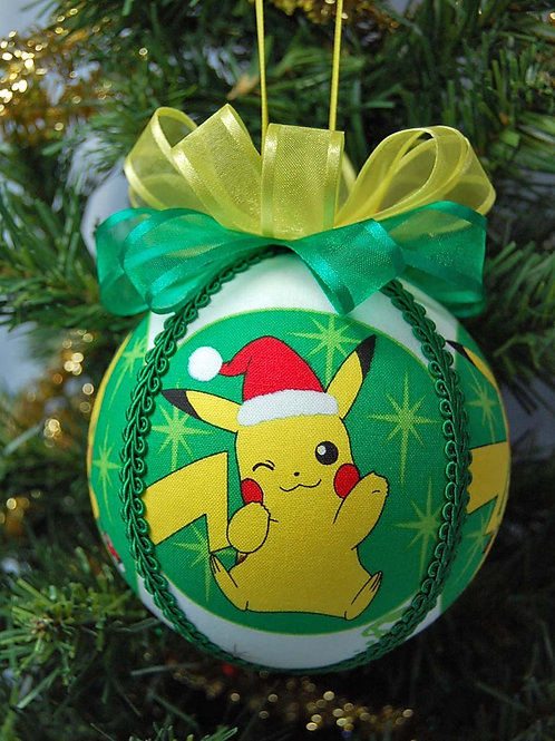 "Ornament made with licensed Pokemon (Christmas) fabric/styrofoam ball - 4"""