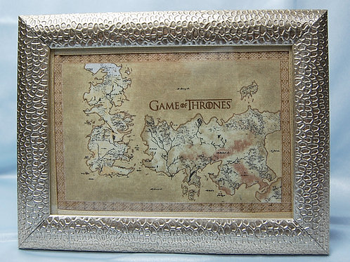 Throne Game map fabric in frame