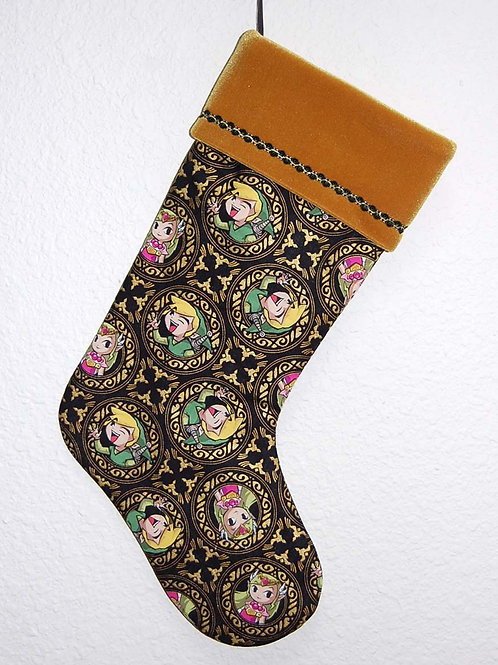Stocking made with licensed Legend of Zelda cotton fabric/gold velvet cuff