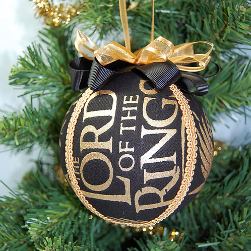 """Ornament made with licensed Lord of the Rings fabric/styrofoam ball - 4"""""""