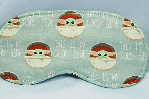 Sleep Mask made with licensed Star Wars The Child (green) cotton fabric